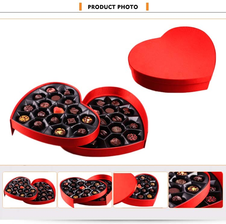 Custom packaging fancy PU leather heart shaped empty chocolate gift box