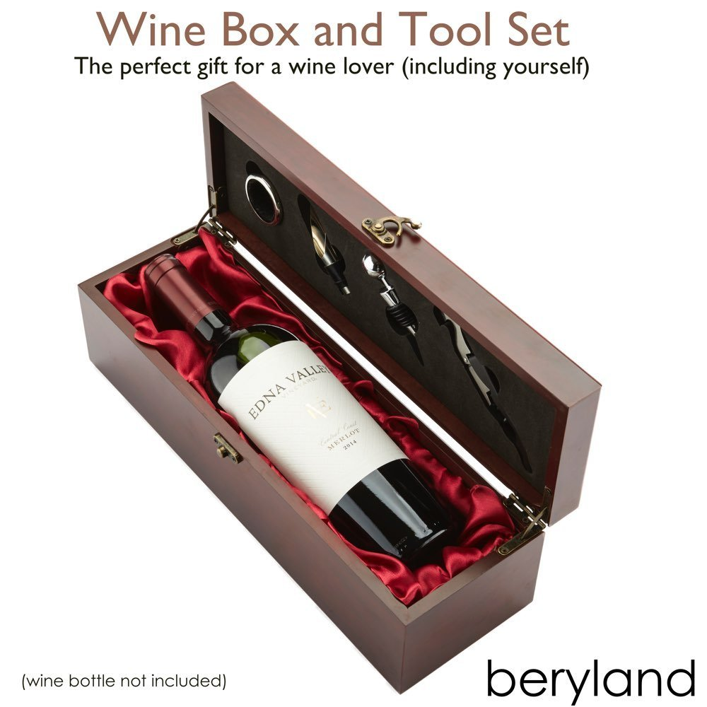 wooden wine box -custom luxury wooden wine tool set box