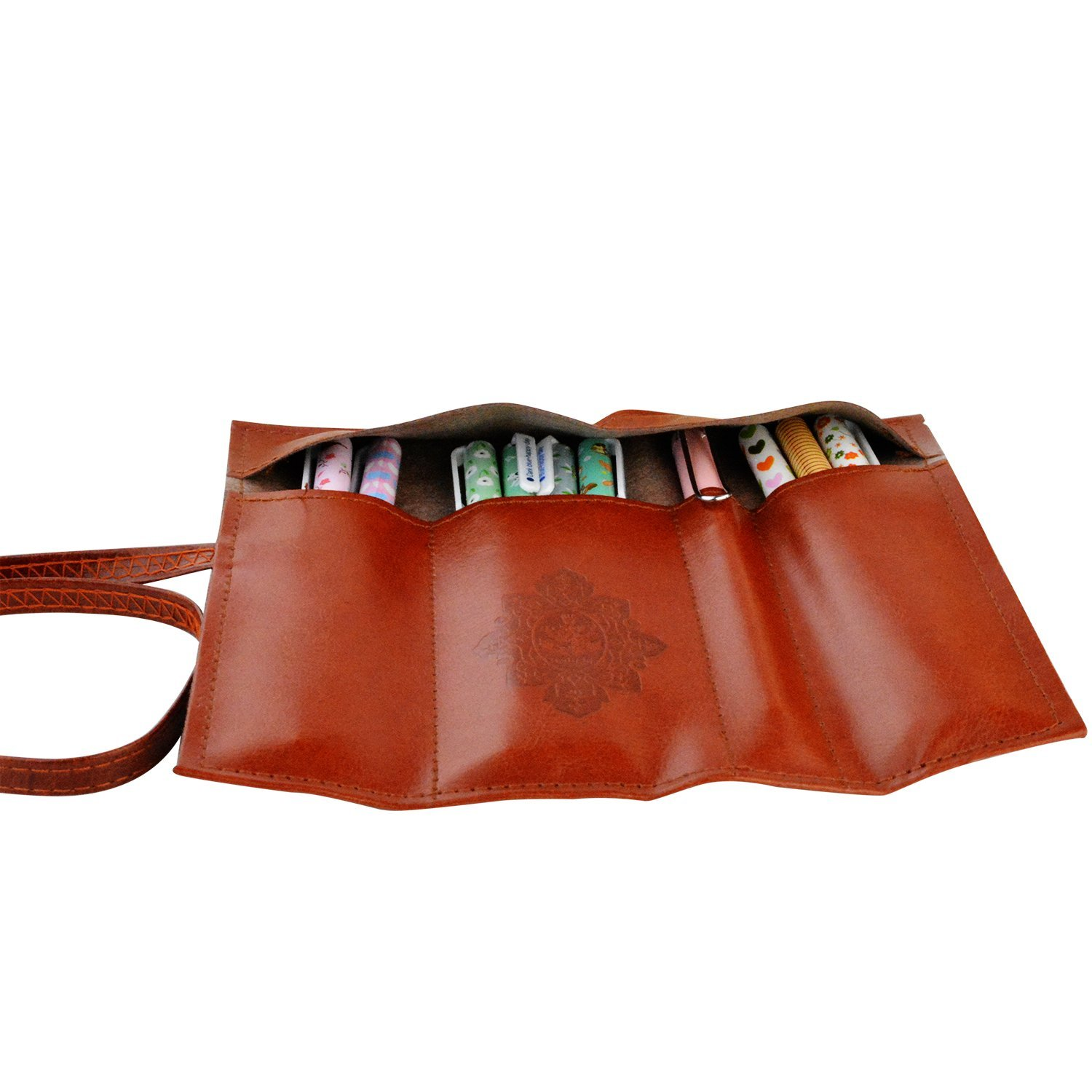 pen case - Leather Pen Bag Pencil Case Makeup Pouch