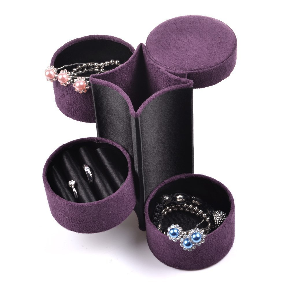 jewelry display case - Purple Travel Roll Up Jewelry Case