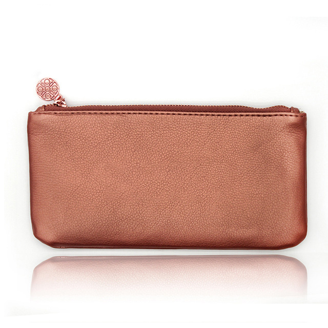 rose gold cosmetic bag-OEM pu leather rose gold cosmetic bag