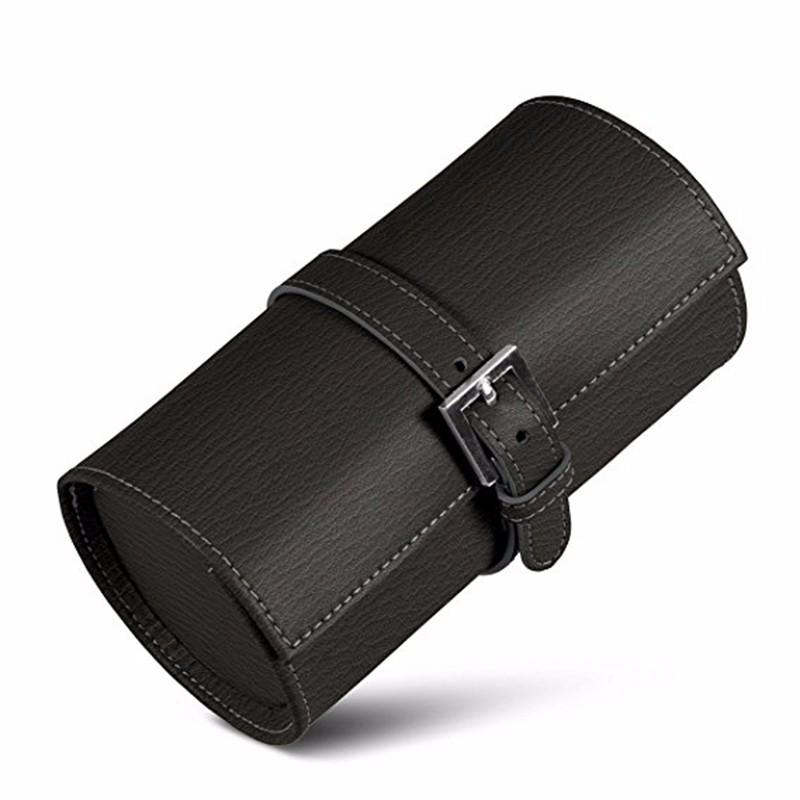 watch travel case-Round black color luxury watch travel case
